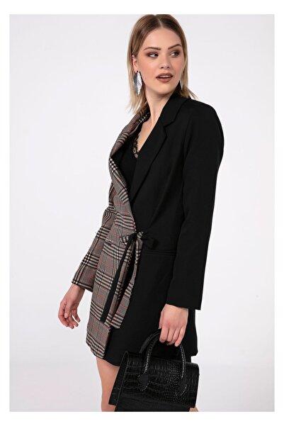 Tiffany K20082 Ekose Garnili Baglamalı Ceket