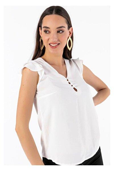 Tiffany Y14505 Önü Düğmeli Fırfırlı Charme Bluz