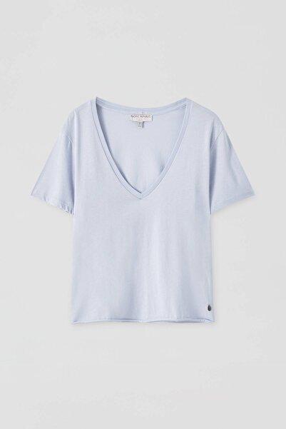 Kadın Gök Mavisi Basic Açık Mavi T-Shirt 05238319