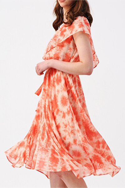 RANDOM Kadın Üzeri Fırfır Detaylı Beli Lastikli Tek Omuzlu Asimetrik Elbise