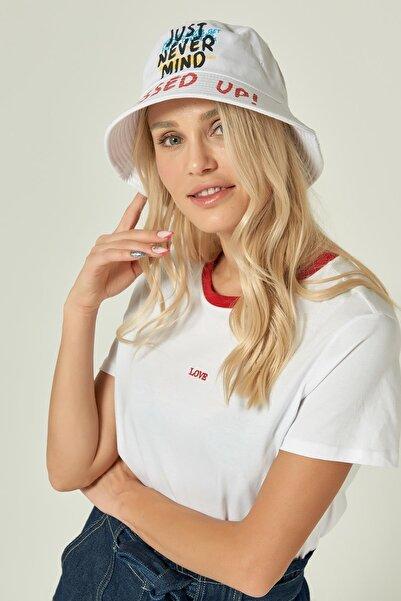 13239 Baskı Detaylı Beyaz Bucket Şapka