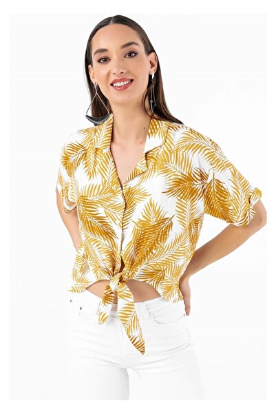 Tiffany Y15068 Bağlamalı Palmiye Gömlek