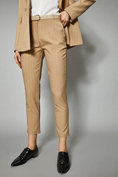 Koton Kadın Deve Tüyü Çizgili Pantolon 0YAK42592UW