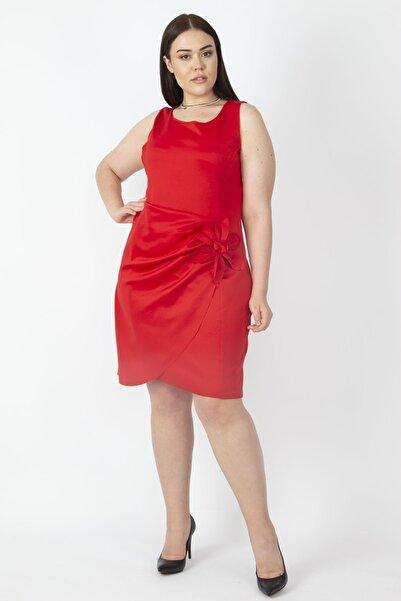 Şans Kadın Kırmızı Bel Detaylı Arka Fermuarlı Elbise 65N16735