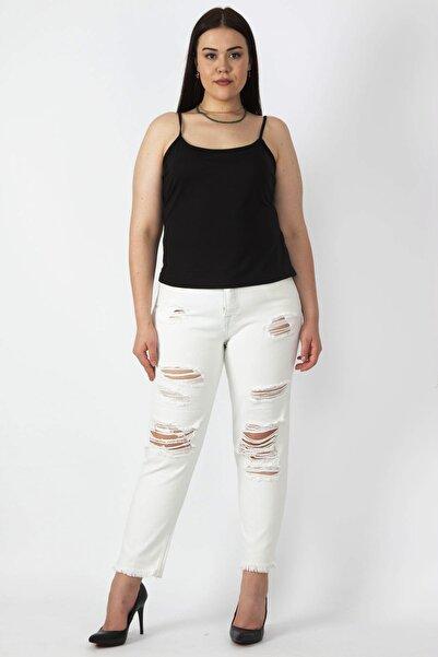 Şans Kadın Kemik Yırtık Detaylı Gabardin 5 Cep Pantolon 65N16706