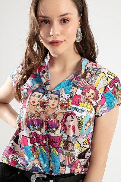 Pattaya Kadın Çok Renkli Dijital Baskılı Hakim Yaka Gömlek PTTY20S-377
