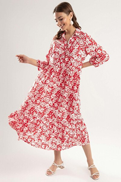 Y-London Kadın Kırmızı Çiçek Desenli Robalı Uzun Elbise Y20S110-1980