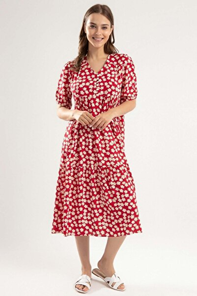 Kadın Kırmızı V Yaka Çiçekli Robalı Uzun Elbise Y20S110-1976