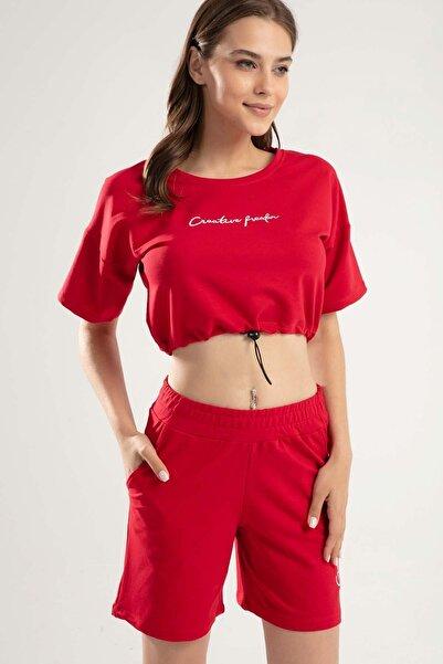 Y-London Kadın Kırmızı Yazılı Şort Takım Y20S151-1505