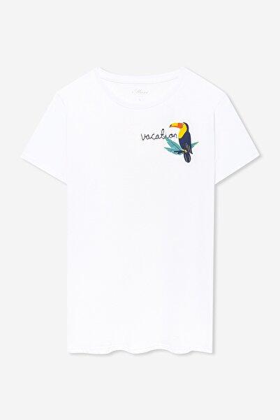 Kadın Tukan Baskılı Beyaz T-Shirt 168740-620