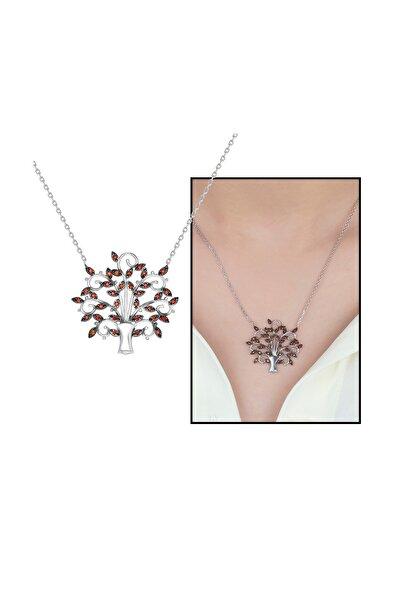 Tesbihane Turuncu Zirkon Taşlı Çınar Ağacı Tasarım Üretildiği Malzeme : 925 Ayar Gümüş Kadın Kolye 103000675
