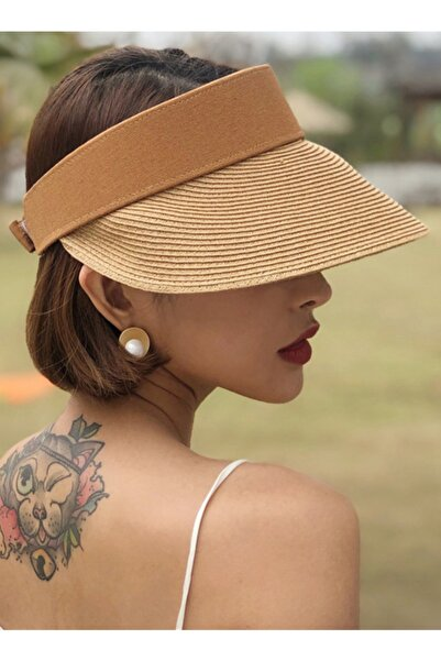 Çırt Çırtlı Ayarlanabilir Hasır Örgü Plaj Şapkası Bayan Kadın Vizör Şapka
