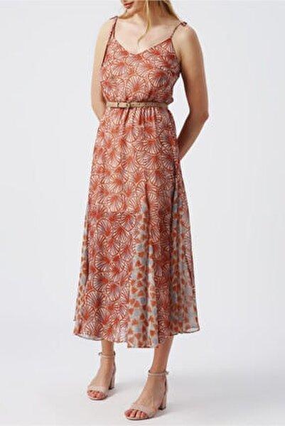 Kadın Beli Lastikli Desenli Elbise