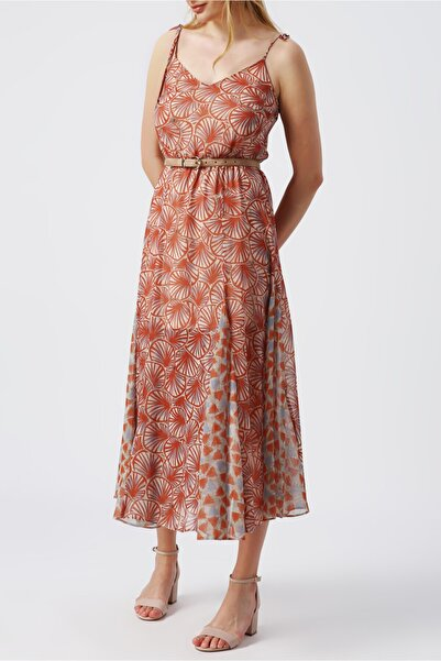 RANDOM Kadın Beli Lastikli Desenli Elbise