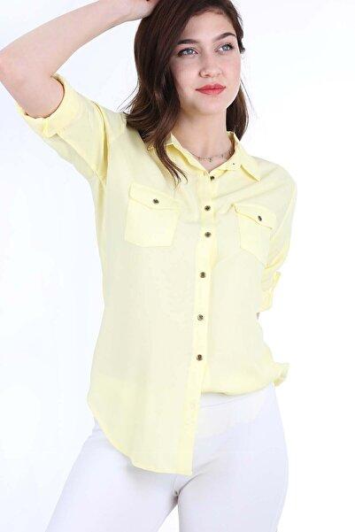 Kadın Sarı Çift Kapak Cepli Gömlek 3428BGD19_017