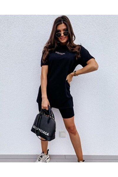 Kadın Siyah Biker Tayt Ve Kısa Kollu Boyfriend T-shirt Takım