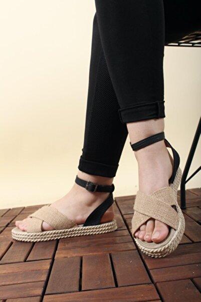Oksit Florin 565 Hasır Kalın Taban Kadın Sandalet