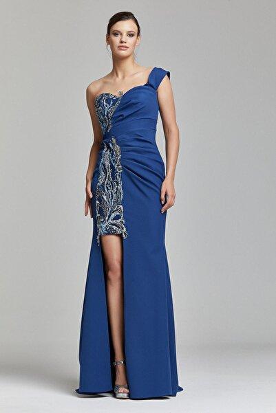 RENGIN Tek Göğsünden Yırtmaca Payet Desenli Elbise
