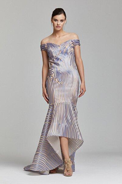 RENGIN Biyeli Desenli Kayık Yaka Elbise