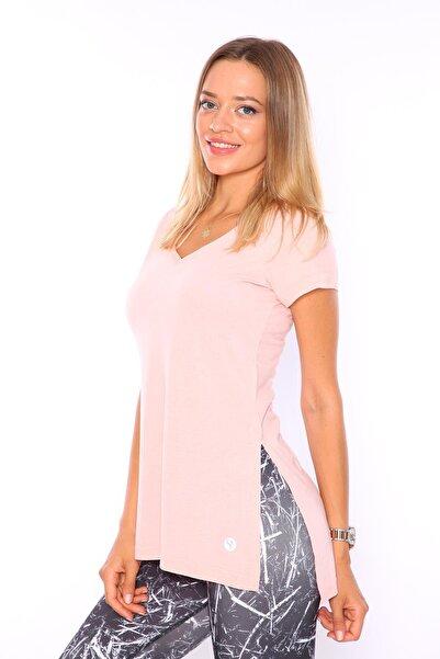 V Yaka Yırtmaçlı Tunik Kadın Tshirt Somon