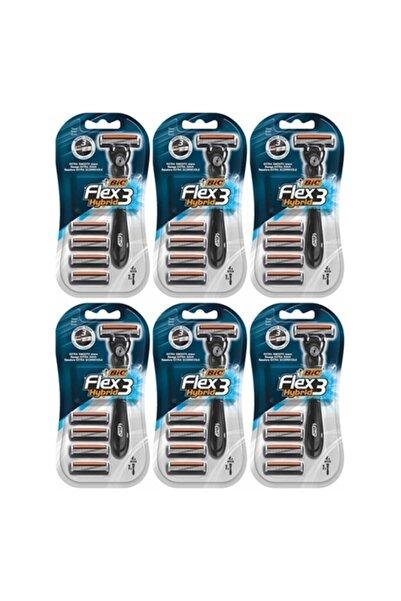 Bic Flex3 Hybrid Tıraş Bıçağı 4 Yedek 1 Sap X 6 Adet