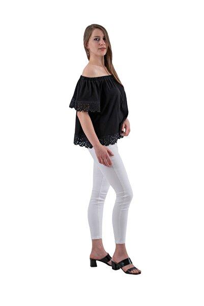 Prego Siyah Düşük Omuz Güpür Detaylı Bluz