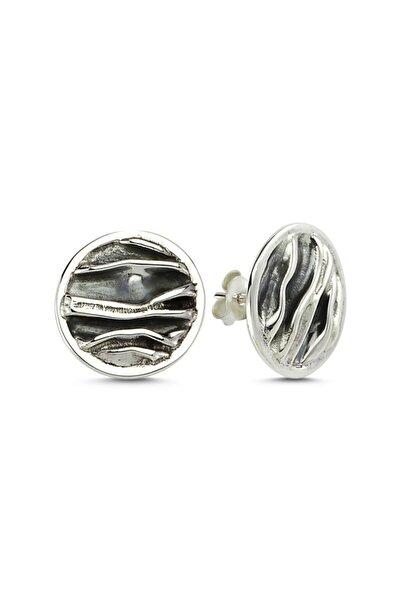 Zuk Collection Gümüş Taşsız Yuvarlak Buruşuk Küpe