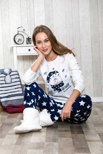 1038 Kadın Pijama Polar Üst Pantolon 2'li Takım