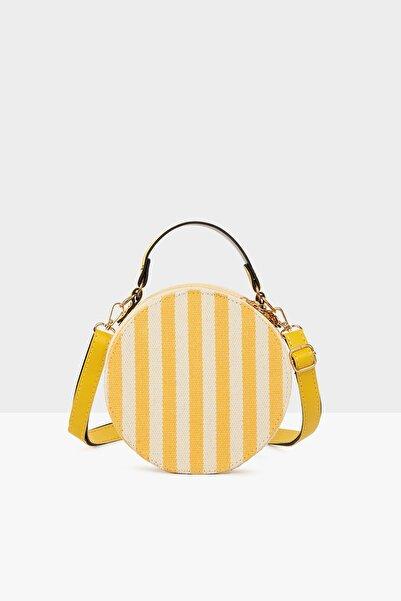 Bagmori Sarı Kadın Çizgili Davul Çanta M000004697