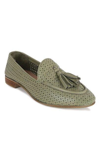 Erdoğan Deniz shoes & accessories ELANA Yeşil Deri Babet