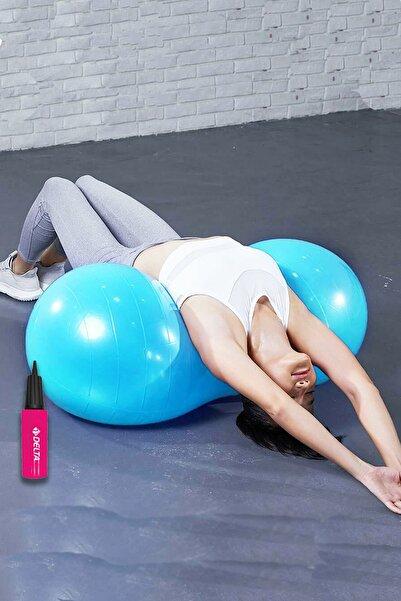 Delta Fıstık Top 90x45 cm Fıstık Şeklinde Pilates Topu Ve Şişirme Pompası Plates Fitness Seti Set