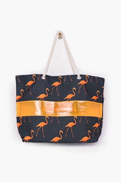 Via Bianco Flamingo Desenli Halat Askılı Plaj Çantası