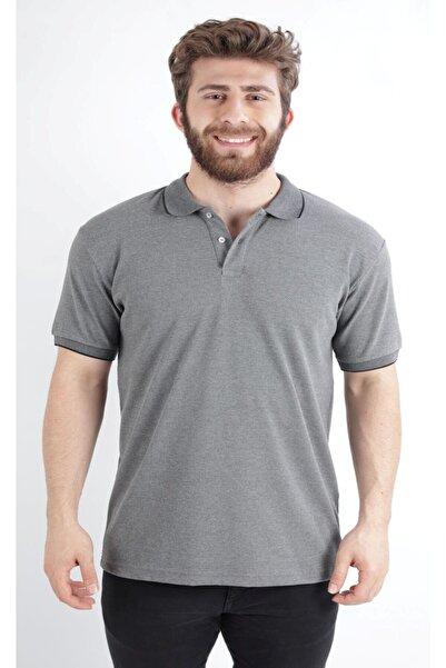 Düğmeli Petek Örme Regular Fit Polo Yaka T-shırt, Gri (e20-61003)