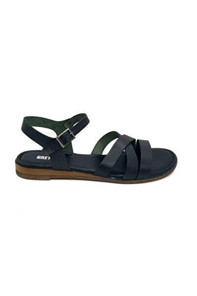 Greyder 53365 Hakiki Deri Siyah Kadın Sandalet 39 Numara Ince Taban Bant Afilli Cadde