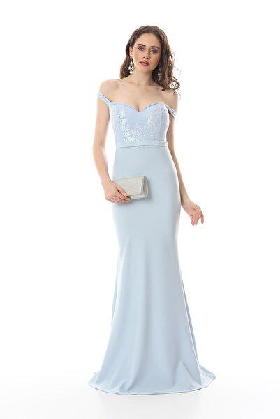 Shine İstanbul Bebek Mavisi Balık Abiye Elbise