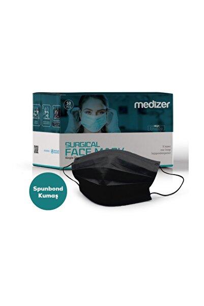 Sabomar Medizer Full Ultrasonik Cerrahi Ağız Maskesi 3 Katlı Spunbond Kumaş 50 Adet - Burun Telli - Siyah