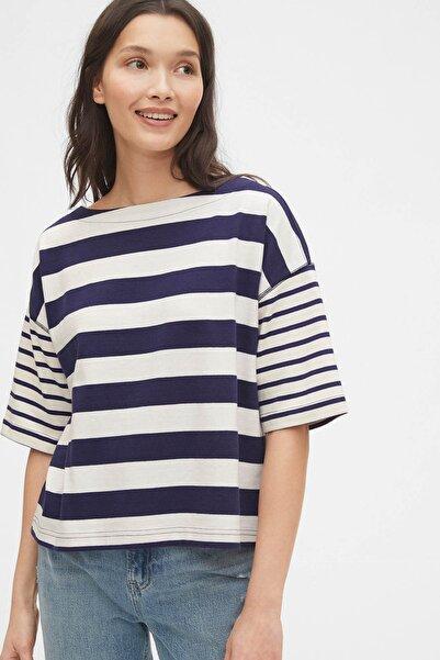 GAP Kadın Çizgili Boxy T-Shirt 574142