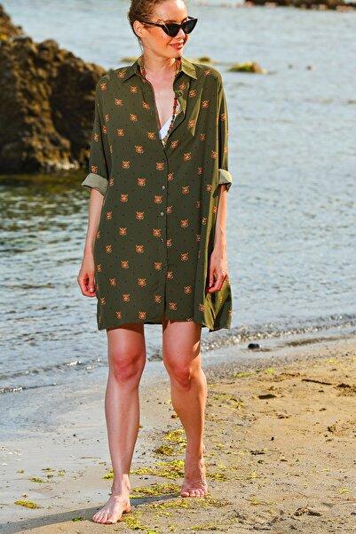 Kadın Haki Desenli Dokuma Gömlek Elbise Dnz-3156-Rw1