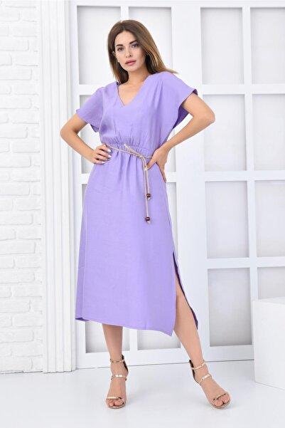 İroni Hasır Kemerli Lila Keten Midi Elbise
