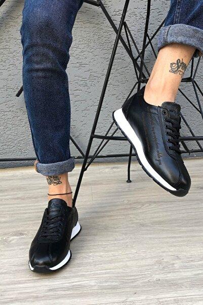 MUWAGO Hakiki Deri Günlük Siyah Erkek Ayakkabı