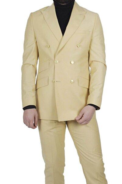MASERTO Sarı Erkek Slim Fit Kruvaze Takım Elbise