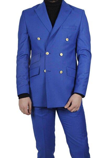 MASERTO Mavi Erkek Slim Fit Kruvaze Takım Elbise