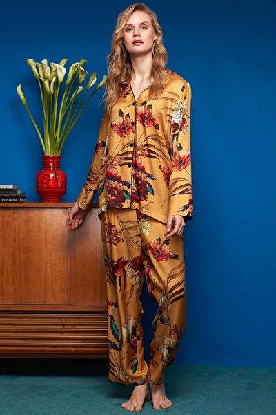 Penyemood Penye Mood Kadın Gömlek Pantolon Pijama Takımı 8608 Sarı
