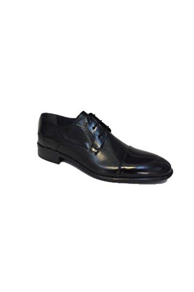 Sahra Ömer Siyah Rugan Damatlık Hakiki Deri Klasik Erkek Ayakkabı