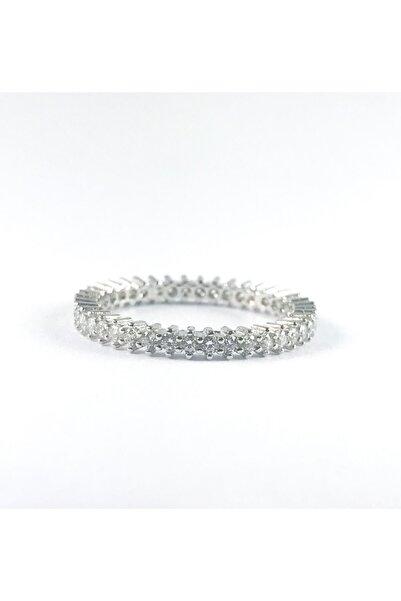 CebeciSilver Tek Sıra Zirkon Taşlı Bayan Tamtur 925 Ayar Gümüş Yüzük