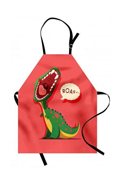 Orange Venue Çocuksu Mutfak Önlüğü Yeşil Bebek Dinozor Rengirenk