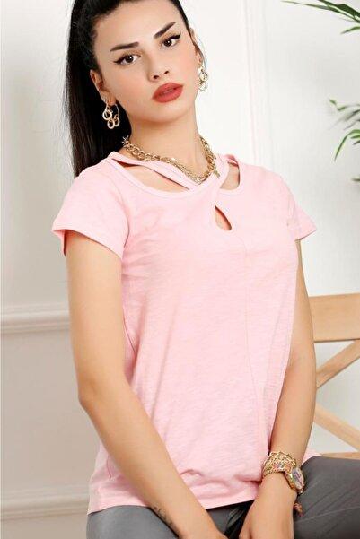 Lukas Kadın Kısa Kol Çapraz Yaka T-shirt Pembe