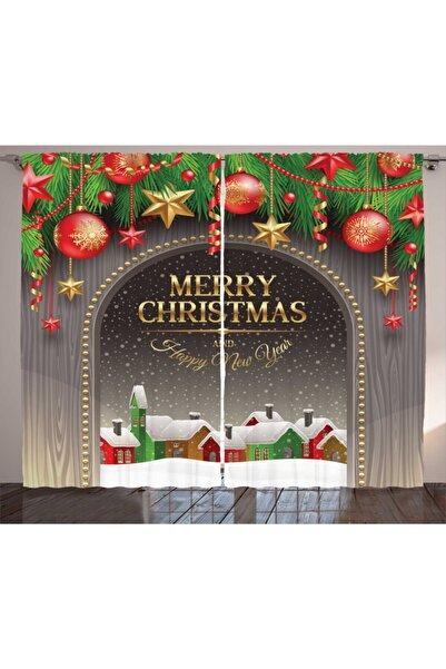 Orange Venue Perde Noel Temalı Ingilizce Kutlama Mesajı Deseni