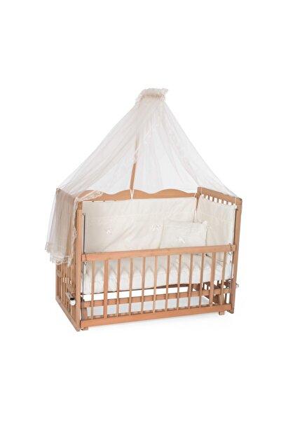 Ahşap Organik  Anne Yanı Beşik 4 Kademeli 60x120 - Krem Güpürlü Uyku Setli & Soft Ortopedik Yataklı