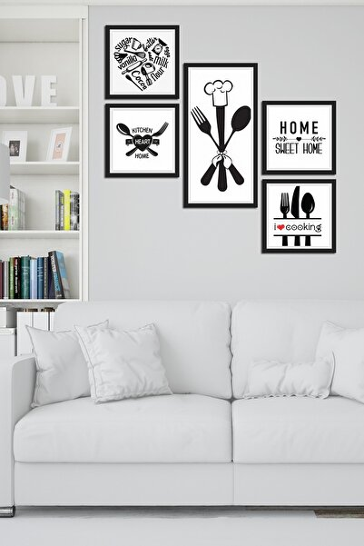 Cadran Collage Style 5 Parçalı Mdf Tablo Atf284